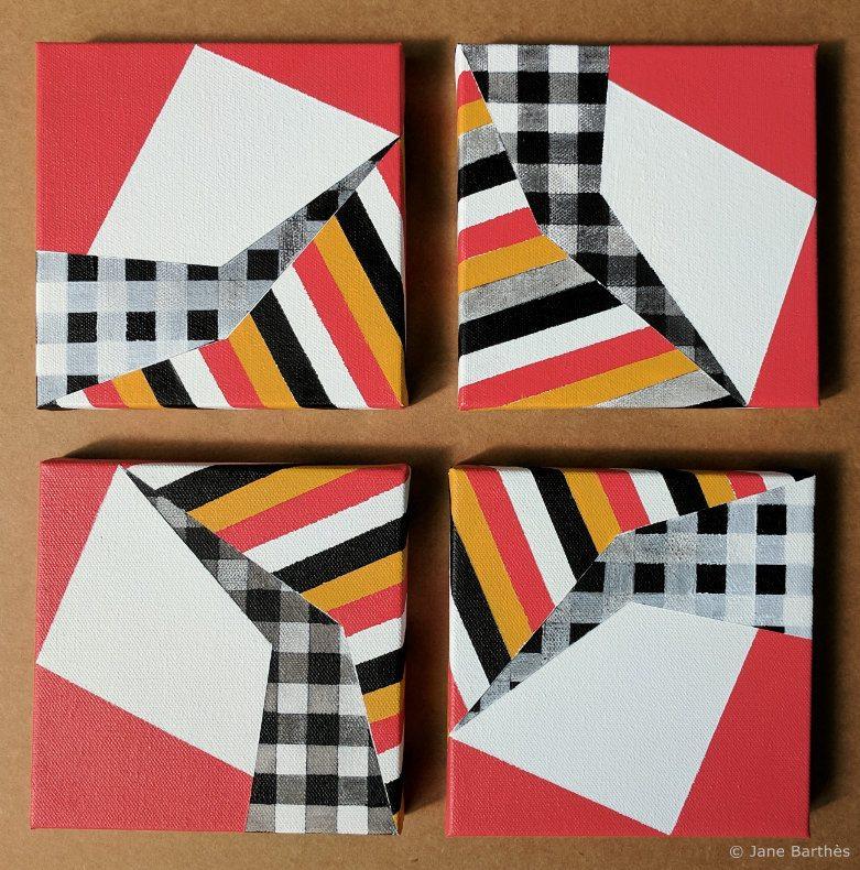 Jane Barthès 4 Acrylic geometric paintings c_wm