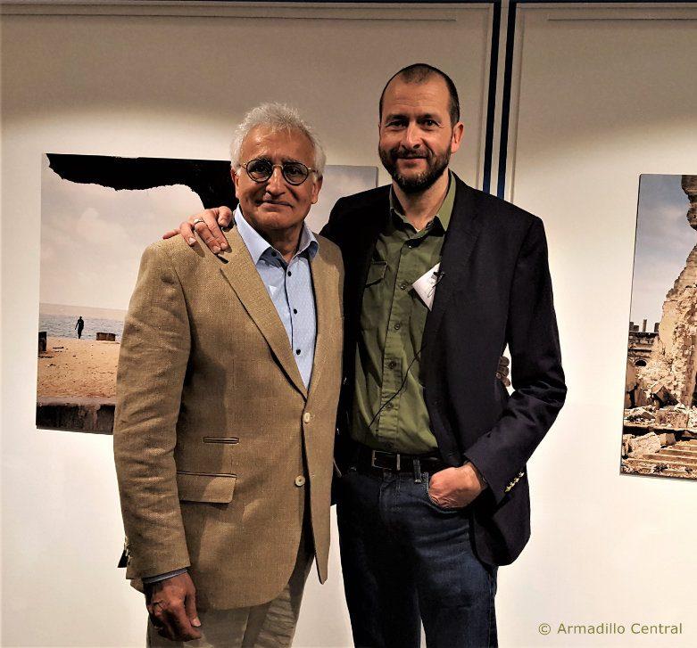 Ladak London's Amin Abdulla Pardhan with Guillaume Bonn at the Dreams & Dystopia opening image © Ladak London / Armadillo Central